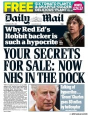Daily Mail (UK) Newspaper Front Page for 1 April 2015