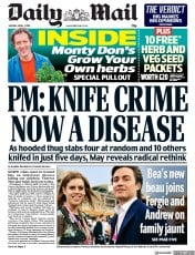 Daily Mail (UK) Newspaper Front Page for 1 April 2019