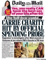 Daily Mail (UK) Newspaper Front Page for 1 April 2021