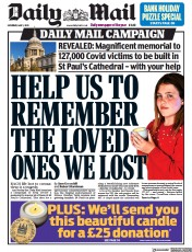 Daily Mail (UK) Newspaper Front Page for 1 May 2021