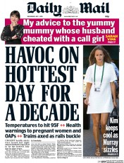 Daily Mail (UK) Newspaper Front Page for 1 July 2015