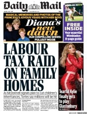 Daily Mail () Newspaper Front Page for 1 July 2019