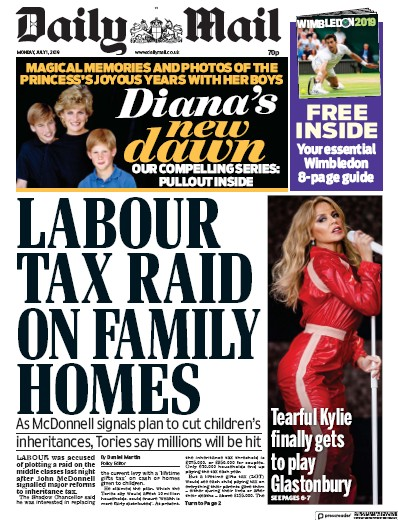 Daily Mail Newspaper Front Page (UK) for 1 July 2019