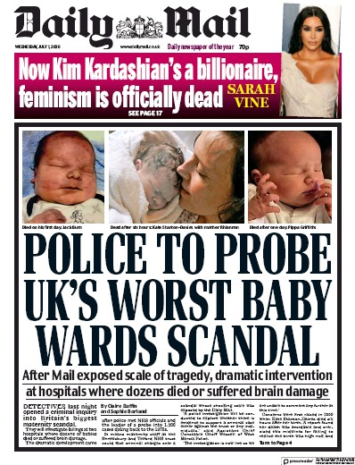 Daily Mail Newspaper Front Page (UK) for 1 July 2020