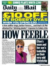 Daily Mail (UK) Newspaper Front Page for 1 August 2015