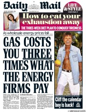 Daily Mail (UK) Newspaper Front Page for 1 September 2014