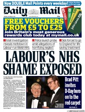 Daily Mail (UK) Newspaper Front Page for 20 October 2014
