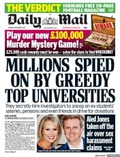 Daily Mail (UK) Newspaper Front Page for 20 November 2017