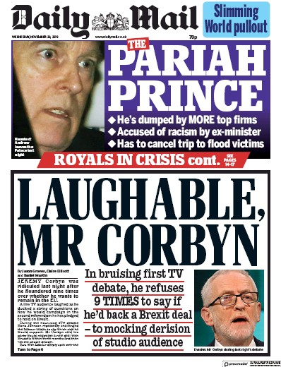 Daily Mail Newspaper Front Page (UK) for 20 November 2019
