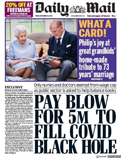 Daily Mail Newspaper Front Page (UK) for 20 November 2020
