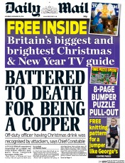 Daily Mail (UK) Newspaper Front Page for 20 December 2014