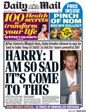 Daily Mail (UK) Newspaper Front Page for 20 January 2020