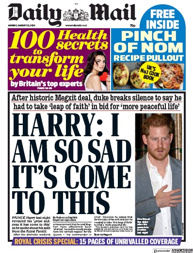 Daily Mail Newspaper Front Page (UK) for 20 January 2020