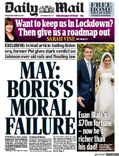 Daily Mail Newspaper Front Page (UK) for 20 January 2021