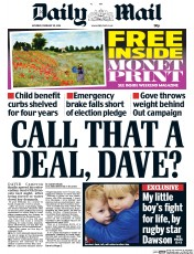 Daily Mail (UK) Newspaper Front Page for 20 February 2016