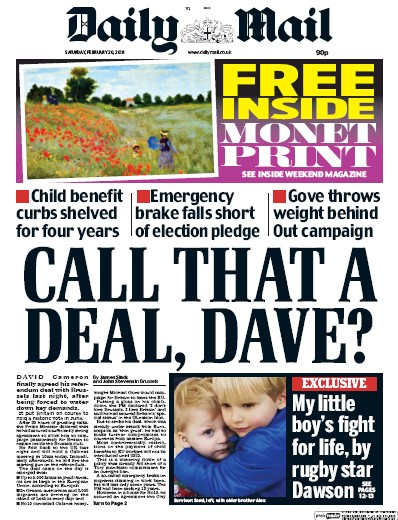 Daily Mail Newspaper Front Page (UK) for 20 February 2016