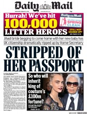 Daily Mail (UK) Newspaper Front Page for 20 February 2019