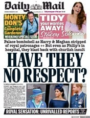 Daily Mail front page for 20 February 2021