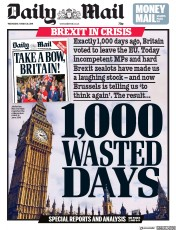 Daily Mail () Newspaper Front Page for 20 March 2019