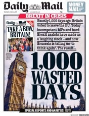 Daily Mail (UK) Newspaper Front Page for 20 March 2019