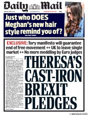Daily Mail (UK) Newspaper Front Page for 20 April 2017