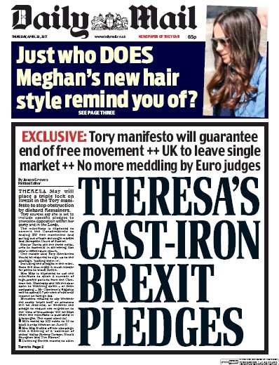 Daily Mail Newspaper Front Page (UK) for 20 April 2017