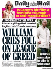 Daily Mail front page for 20 April 2021