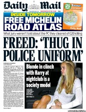 Daily Mail Newspaper Front Page (UK) for 20 July 2012