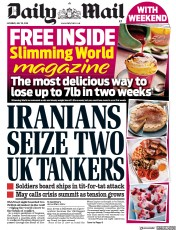 Daily Mail (UK) Newspaper Front Page for 20 July 2019