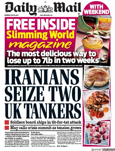 Daily Mail Newspaper Front Page (UK) for 20 July 2019