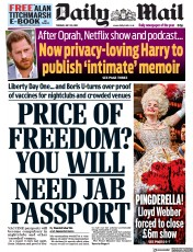 Daily Mail () Newspaper Front Page for 20 July 2021
