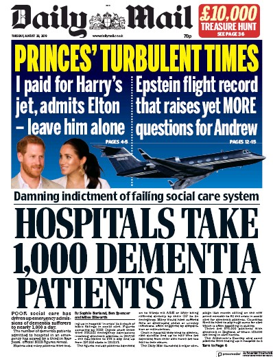 Daily Mail Newspaper Front Page (UK) for 20 August 2019
