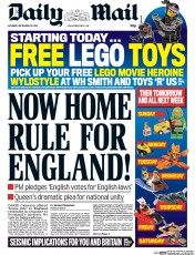 Daily Mail (UK) Newspaper Front Page for 20 September 2014
