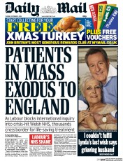 Daily Mail (UK) Newspaper Front Page for 21 October 2014
