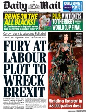 Daily Mail (UK) Newspaper Front Page for 21 October 2019
