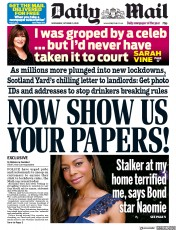 Daily Mail front page for 21 October 2020