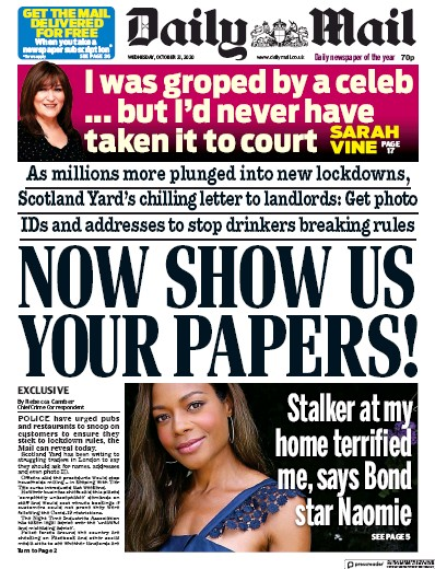 Daily Mail Newspaper Front Page (UK) for 21 October 2020
