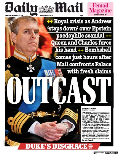 Daily Mail Newspaper Front Page (UK) for 21 November 2019