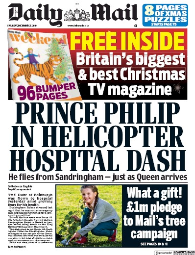 Daily Mail Newspaper Front Page (UK) for 21 December 2019