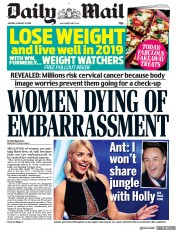 Daily Mail (UK) Newspaper Front Page for 21 January 2019