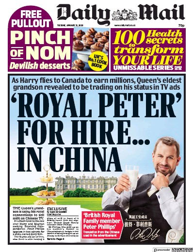 Daily Mail Newspaper Front Page (UK) for 21 January 2020