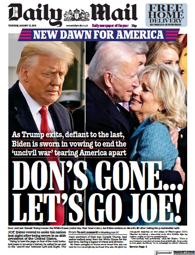 Daily Mail Newspaper Front Page (UK) for 21 January 2021