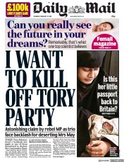 Daily Mail (UK) Newspaper Front Page for 21 February 2019