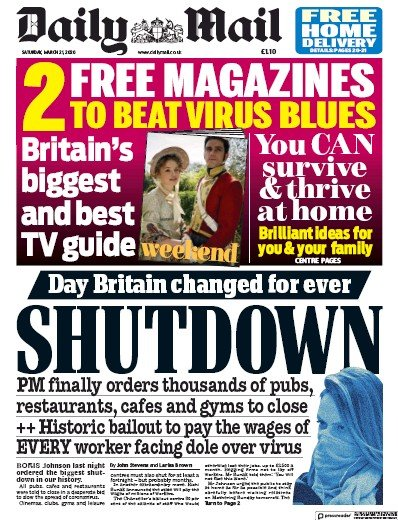 Daily Mail Newspaper Front Page (UK) for 21 March 2020