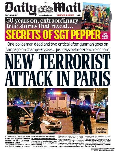 Daily Mail Newspaper Front Page (UK) for 21 April 2017