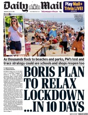 Daily Mail front page for 21 May 2020
