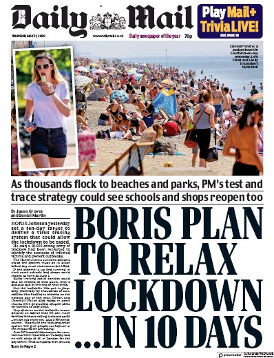 Daily Mail Newspaper Front Page (UK) for 21 May 2020