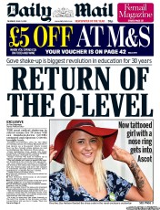 Daily Mail Newspaper Front Page (UK) for 21 June 2012