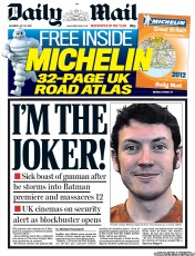 Daily Mail Newspaper Front Page (UK) for 21 July 2012