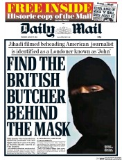 Daily Mail (UK) Newspaper Front Page for 21 August 2014